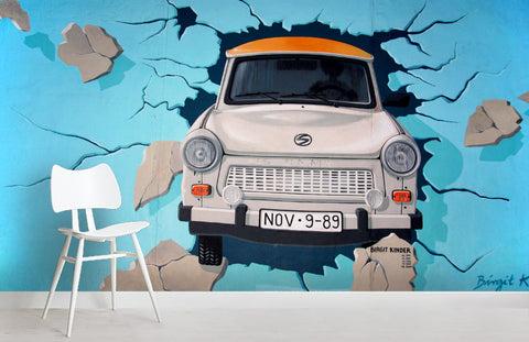 3D Car Blue Background Wall Mural Wallpaper 10