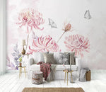 3D Watercolor Pink Daisy Butterfly Wall Mural 178