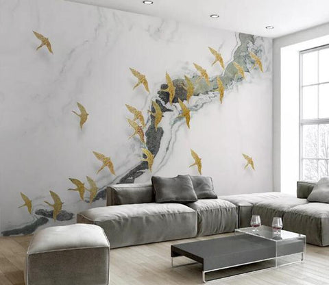 3D Golden Bird Abstract Pattern Wall Mural Removable 162