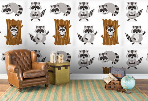 3D cartoon raccoon wall mural wallpaper 103