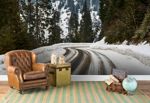 3D forest snow road wall mural wallpaper 11