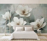 3D White Retro Floral Wall Mural Removable 188 - Jessartdecoration