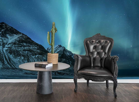 3D Snow Mountain Aurora Starry Sky Wall Mural Wallpaper 129