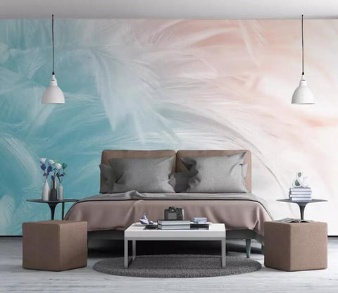 3D Modern Colorful Feather Wall Mural Removable 114 - Jessartdecoration