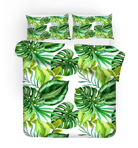 3D Green Palm Leaves Quilt Cover Set Bedding Set Pillowcases 25