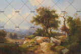 3D pastoral scenery oil painting wall mural wallpaper 53