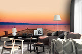 3D sunset sea beach wall mural wallpaper 110