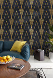3D Gold Stripe Geometry Wall Mural Wallpaper 4