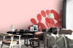 3D red cactus pink background wall mural wallpaper 70