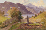 3D mountain lake scenery oil painting wall mural wallpaper 31