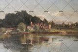 3D lakeside cottage oil painting wall mural wallpaper 53