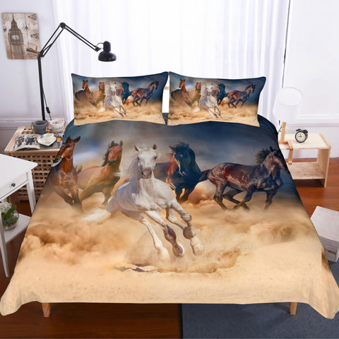 3D Galloping Horse Quilt Cover Set Bedding Set Pillowcases 226