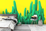 3D green cactus yellow background wall mural wallpaper 94