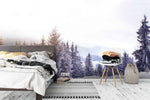 3D winter snow forest wall mural wallpaper 159