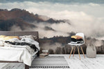 3D fog mountain autumn forest wall mural wallpaper 42