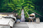 3D green forest wooden bridge wall mural wallpaper 99