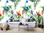 3D Watercolor Flowers White Background Wall Mural Wallpaper 16
