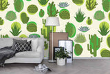 3D hand painting green cactus wall mural wallpaper 104