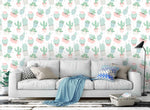 3D hand painting green cactus wall mural wallpaper 05