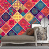 3D Colorful Ethnic Style Bohemia Floral Wall Mural Wallpaper 22 - Jessartdecoration