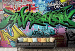 3D Green Letter Graffiti Wall Mural Wallpaper 3