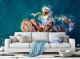 3D blue sea reef island wall mural wallpaper 71