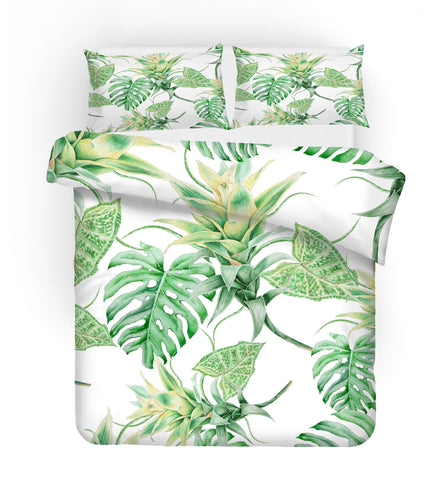 3D Green Palm Leaves Quilt Cover Set Bedding Set Pillowcases 05