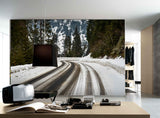 3D snow forest road wall mural wallpaper 165