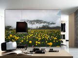 3D canola flower field mountain wall mural wallpaper 15