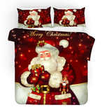 3D Merry Christmas Red Santa Claus Quilt Cover Set Bedding Set Duvet Cover Pillowcases JN 3066