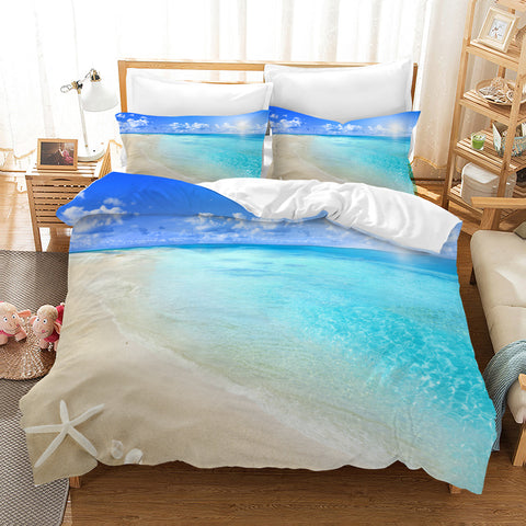 3D Blue Sea Beach Starfish Quilt Cover Set Bedding Set Pillowcases 129