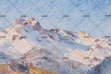 3D blue snow mountains oil painting wall mural wallpaper 54