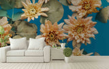 3D flowers leaves wall mural wallpaper 15