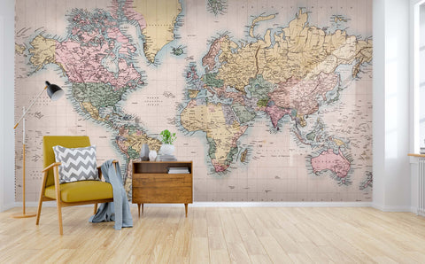 3D colorful world map wall mural wallpaper 37