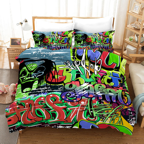 3D Street Graffiti Quilt Cover Set Bedding Set Pillowcases 209