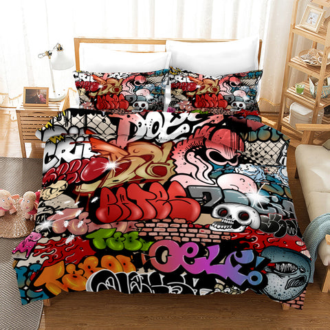 3D Street Graffiti Quilt Cover Set Bedding Set Pillowcases 210