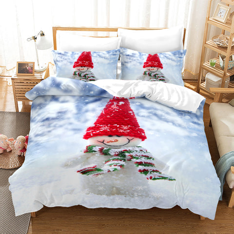 3D Christmas Day Snowman Quilt Cover Set Bedding Set Duvet Cover Pillowcases JN 3009