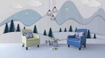 3D color cartoon mountain forest wall mural wallpaper 2