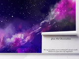 3D Purple Starry Nebula Wall Mural Wallpaper 03