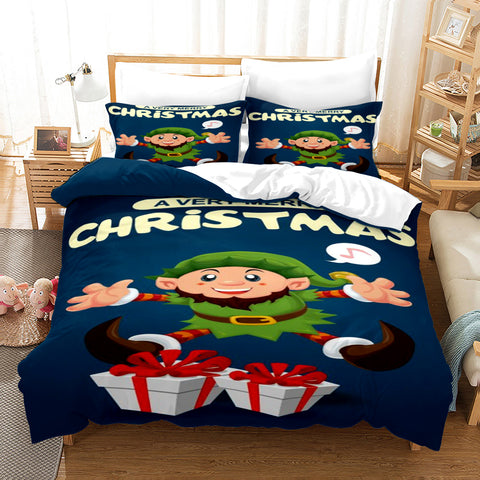3D Merry Christmas Santa Claus Gift Quilt Cover Set Bedding Set Duvet Cover Pillowcases JN 3034