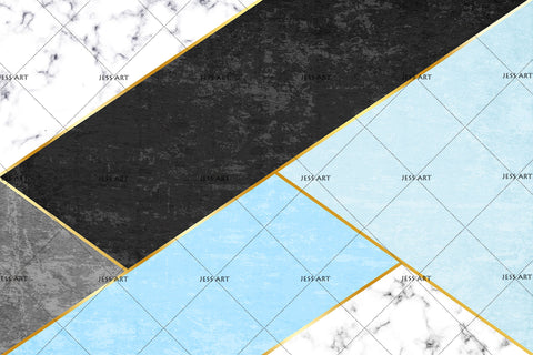 3D Blue Black Geometry Maeble Wall Mural Wallpaper 18