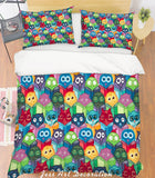 3D Colored Cartoon Owl Quilt Cover Set Bedding Set Pillowcases  35