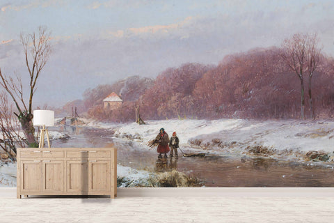 3D Nordic Winter Oil Painting Wall Mural Wallpaper 12