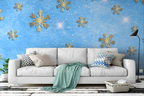 3D Blue Snowflake Wall Mural Wallpaper 28