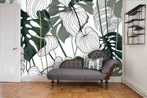3D Tropical Green Leaves Wall Mural Wallpaper 39