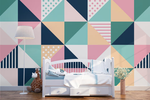 3D Color Triangle Wall Mural Wallpaper 194