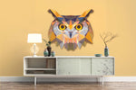 3D Watercolor Owl Orange Background Wall Mural Wallpaper 01