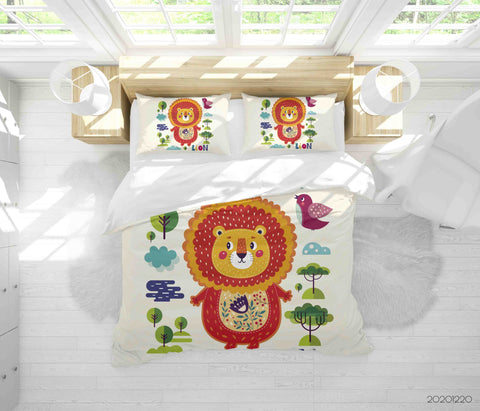 3D Hand Drawn Animal Lion Tree Bird Quilt Cover Set Bedding Set Duvet Cover Pillowcases 142 LQH