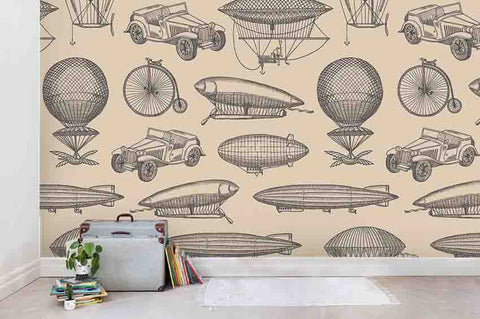 3D Cartoon Freehand Vintage Vehicle Balloon Black White Wall Mural Wallpaper ZY D112