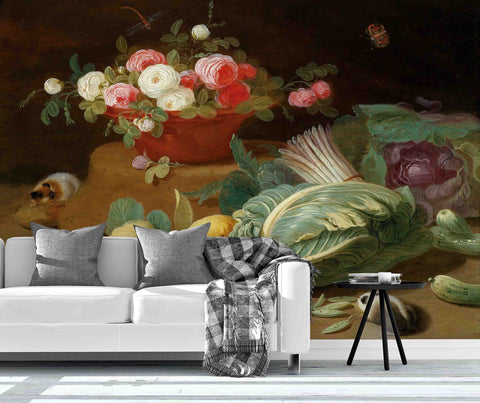 3D cabbage flower mouse painting wall mural wallpaper 27